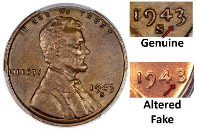 1943 Lincoln Cent Copper Fake 1948