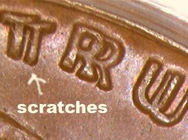 1955 Doubled Die Scratches T Penny
